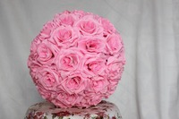 SPR Free shipping 40CM Pomander rose ball 4pcs/lot bride holding pink wedding kissing flower ball party/home decoration flower