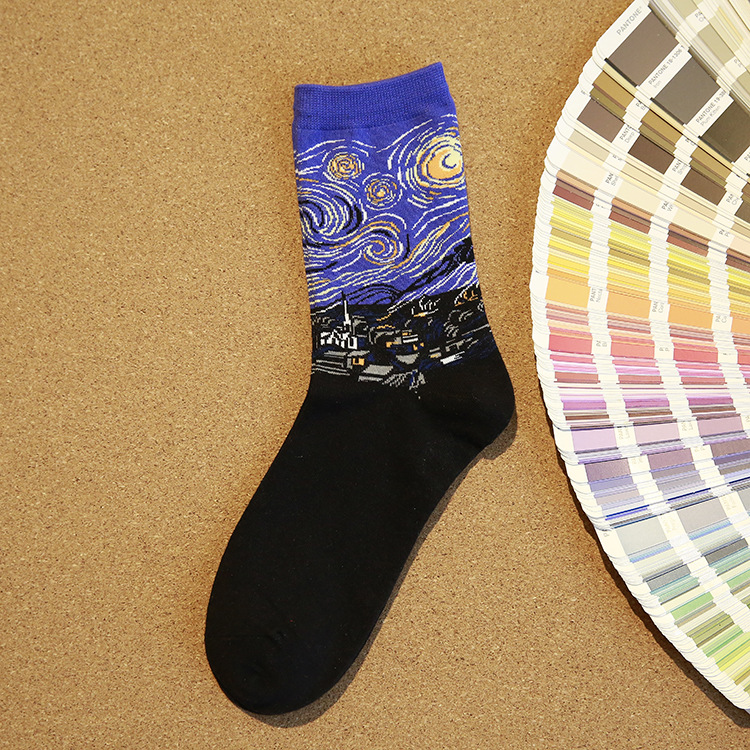 NEW <font><b>3D</b></font> <font><b>Retro</b></font> <font><b>Painting</b></font> <font><b>Art</b></font> <font><b>Socks</b></font> <font><b>Unisex</b></font> <font><b>Women</b></font> <font><b>Men</b></font> <font><b>Funny</b></font> Novelty Starry Night Vintage <font><b>Socks</b></font> HOT Sales image