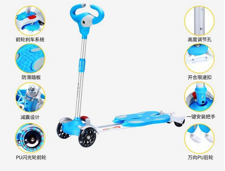 Children Bicicleta Scooter Toys Flash 4 Wheels Outdoor Kid Bike Car Slide Ride On Toy Led Light Flash Adjustable Height