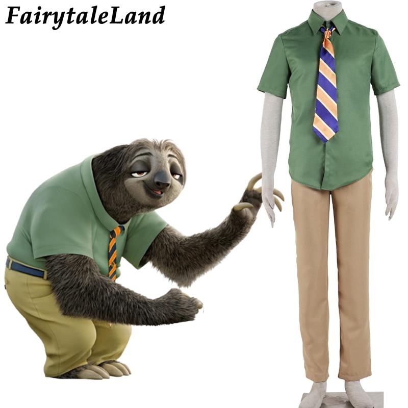 Zootopia Cosplay costume DMV worker Sloths Flash cosplay costume set Flash Zootopia Halloween costumes for men