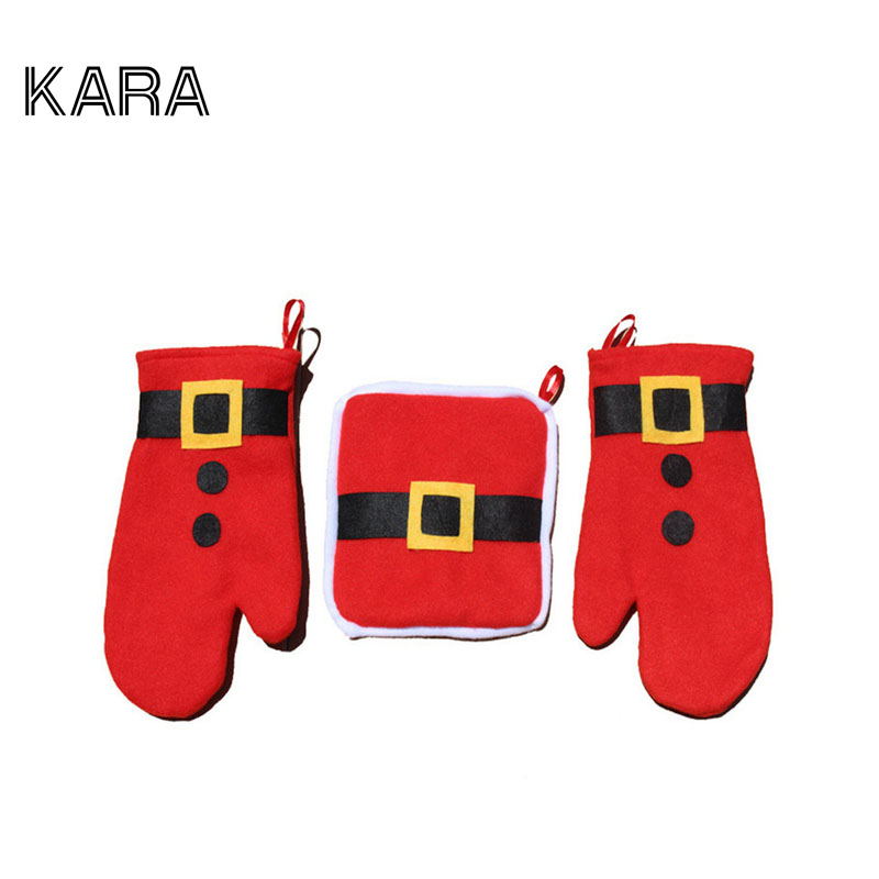 3pcs/set Christmas Decoration 2015 Christmas Ornament Oven Gloves Christmas Table Decorations For Home Santa Claus