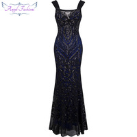 Angel Fashions Off Shoulder Sequin Mermaid Long Evening Dress Abendkleid Black 220 1