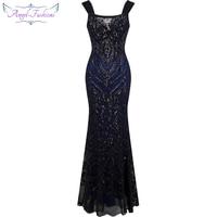 Angel Fashions Off Shoulder Sequin Mermaid Long Evening Dress Abendkleid Black 220 1