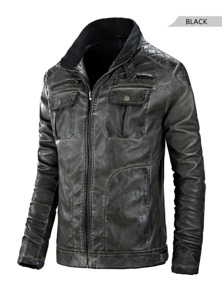 Motorcycle leather jackets men jaqueta de couro masculina 2016 fashion casual pu zipper coat stand collar slim fit outwear M3XL (12)