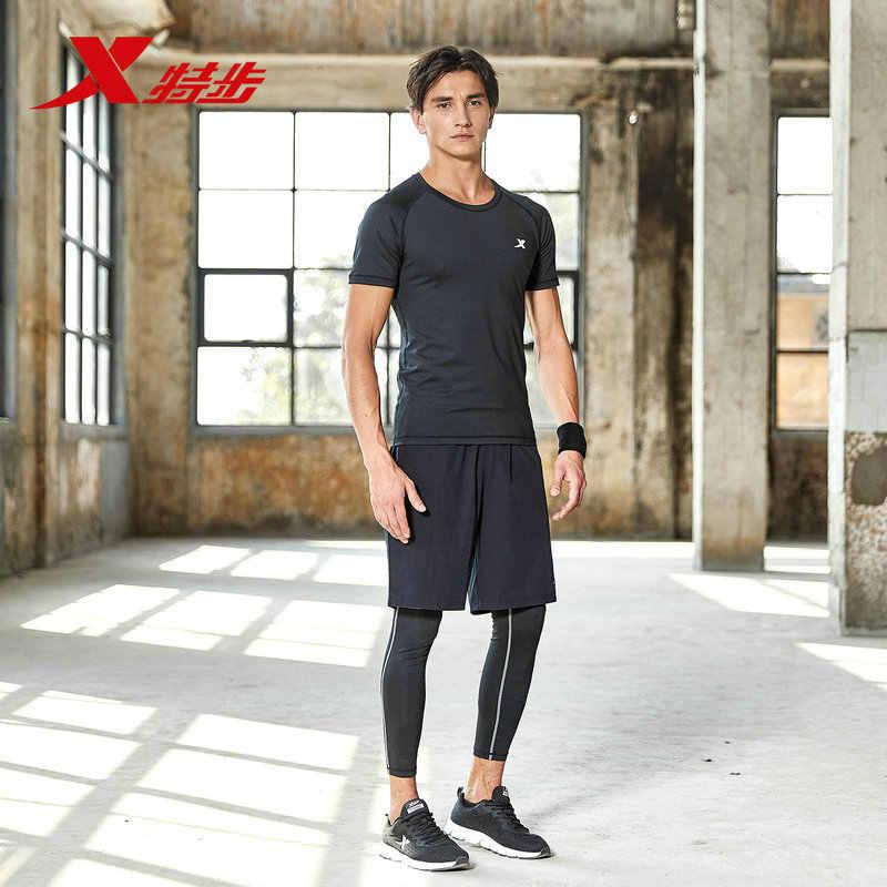882129A19304 Xtep спортивный костюм для мужчин из трех частей 2018 лето новый короткий рукав тонкий Удобный Простой Фитнес беговой костюм