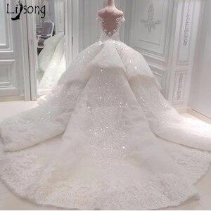 Image 2 - หรูหราดูไบชุดแต่งงานลูกไม้ประกายลูกปัดคริสตัลลูกไม้ชุดเจ้าสาวคำภาพลวงตากลับ Vestido De Noiva Casamento 2018