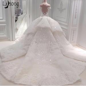 Image 2 - Luxo dubai rendas vestidos de casamento brilho frisado cristal rendas vestidos de noiva ilusão árabe voltar vestido de noiva 2018