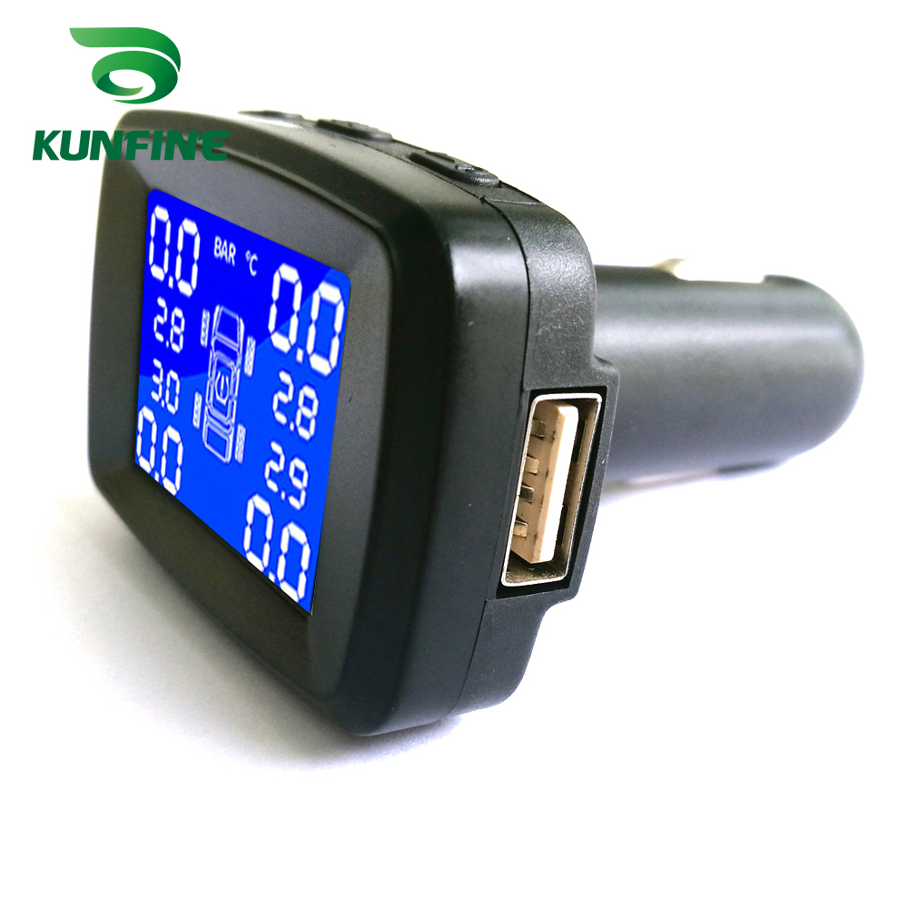 Smart Car TPMS Tyre Pressure Monitoring System Cigarette Lighter Digital LCD Display Auto Security Alarm Systems With 4 Sensors C (3)