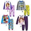Niños de la Historieta Pijamas Ropa Establece Niñas Casuales de manga larga Blusa + pant Traje de dos piezas Set Boys Niños ropa de noche Fija