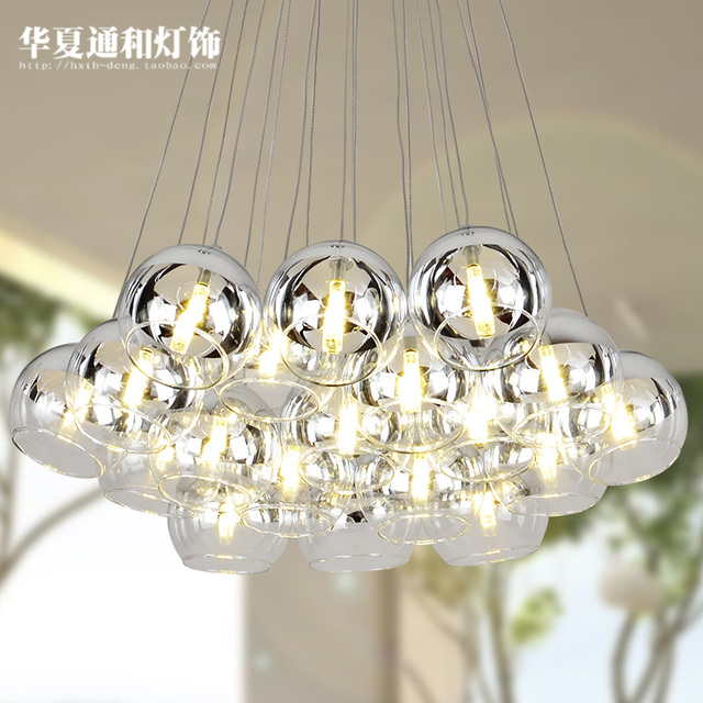 Creative led restaurant pendant lamp double stairs hanging room bar multi head combination bubble pednant lights glass ball