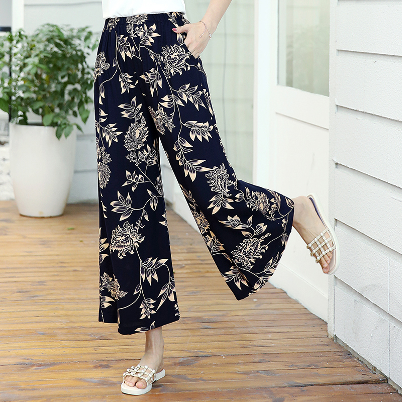 FANMUER 2019 New arrival summer style women pants print Elastic Waist trousers women Elegant Autumn High Waist palazzo pants in Pants amp Capris from Women 39 s Clothing