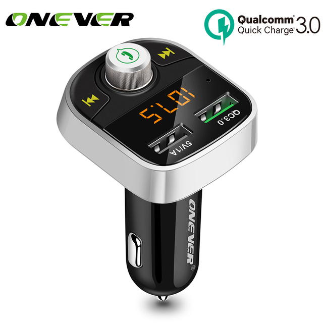 Onever Quick Charger 3.0 FM Transmitter Bluetooth FM Modulator Handsfree Car MP3 Player Support USB Flash Drive SD Card FLAC/APE