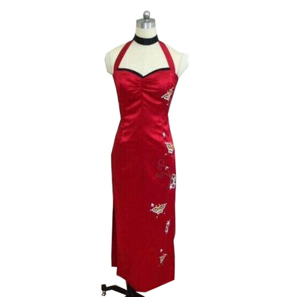2018 Cos Resident Evil V 5 Ada Wong Red Cheongsam Qipao Cosplay Costume Custom Long Prom Dresses with Holster Sexy Clothing