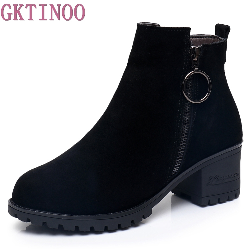 GKTINOO Women Platform Ankle Boots Round Toe Cow Suede Winter Shoes Woman Genuine Leather Boots Ladies Autumn Boots Size 34-43 odetina fashion genuine leather ankle boots flat woman round toe platform lace up boots autumn winter casual shoes big size 43