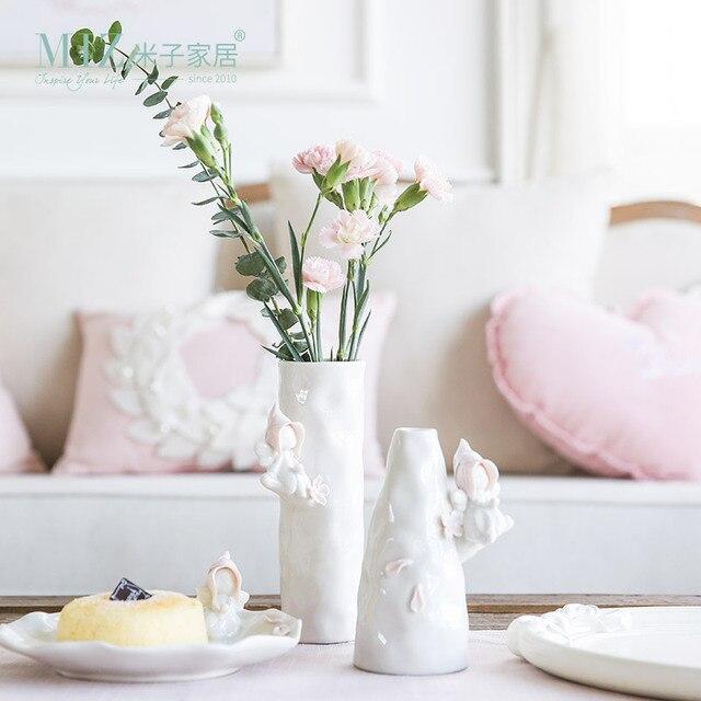 Miz 1 piece vase ceramic vase for flowers home decoration miz 1 piece vase ceramic vase for flowers home decoration accessories pink color vase wedding decoration junglespirit Image collections