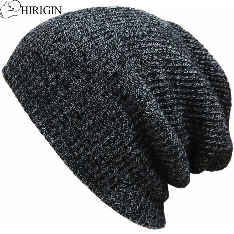 HIRIGIN 2017 Autumn Winter Men Women Slouch Skull Cap Oversize Long Beanie Baggy Cap Crochet Knit Hat Ski Hat Unisex
