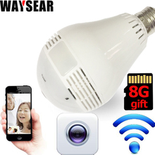 Светодиодная лампа с 960 P 360 градусов Мини VR Камера Беспроводной IP Камера Wi-Fi Fisheye 1.3MP домашней безопасности Wi-Fi камера панорамный