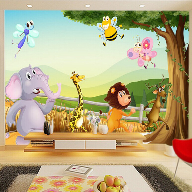 Buy cartoon 3d wallpaper forest zoo wall for Mural kids room