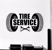 Car Tire Service Logo Car Repair Garage Wall Sticker Vinyl Design Removable Poster Mural Fashion Car Service Wallpaper W222 цена