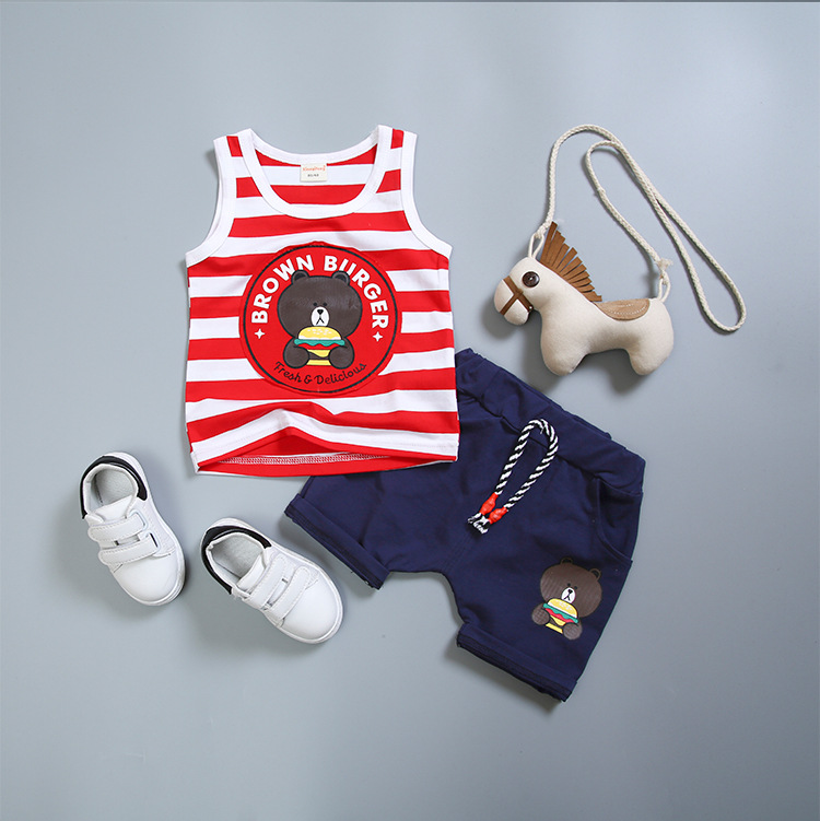 2018 New Arrival Toddler Boys Clothing Set O-neck Sleeveless Cute Cartoon Stripe Summer Top Shorts 2pcs Sport Suit For Boy Baby