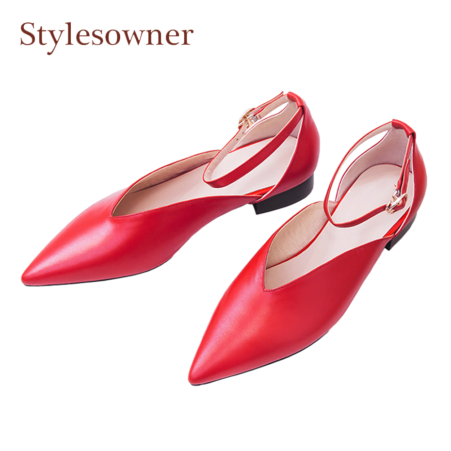 Stylesowner new arrival genuine leather pointed toe shoes women pumps shallow ankle strap all match sweet girl low heel shoes women s ankle boots strappy pointed toe vogue comfy all match shoes