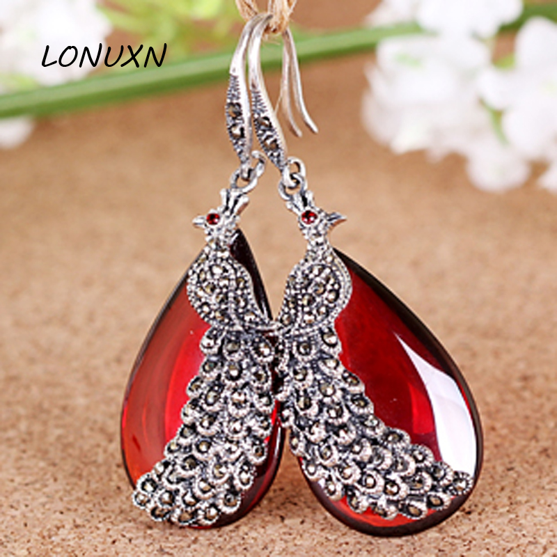 2017 new high end good 925 Sterling Silver Vintage Natural semi precious stones Garnet peacock Phoenix Teardrop female Earrings