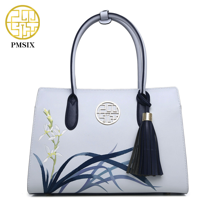 Pmsix 2017 New Designer Women Handbags Split Leather Embroidery Tassel Purses An