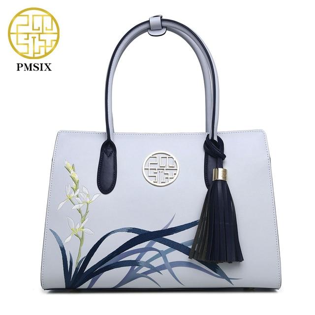 Pmsix 2017 New Designer Women Handbags Split Leather Embroidery Tassel Purses And Handbags Light Blue Ladies Tote Bag P120053