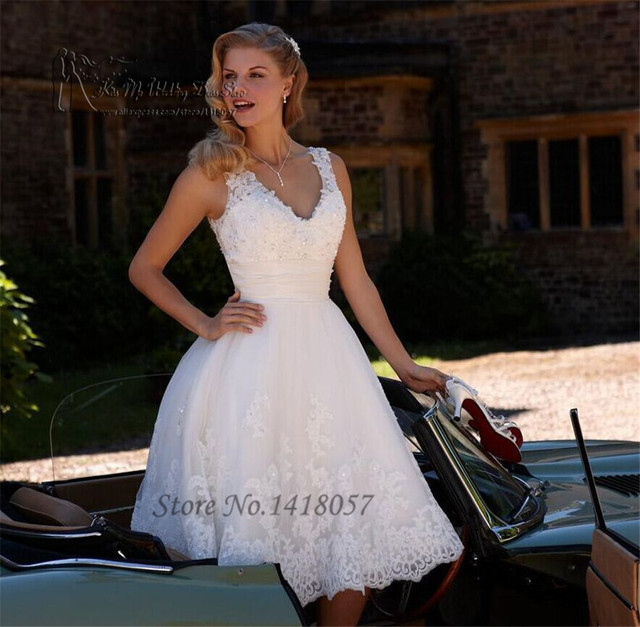 Aliexpress compre modest white lace short wedding dress 2016 modest white lace short wedding dress 2016 beaded knee length wedding gowns bride dress v neck junglespirit Image collections