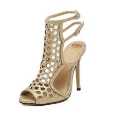 2017 Nouveau style de femmes sexy talons hauts Talons Minces Peep Toe Peep Toe Parti Caoutchouc chaussures femme taille 35-40