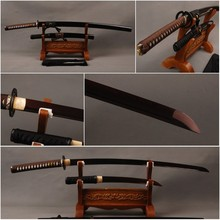 Fantastic  Japanese Samurai Swords Set Folded Steel Blade Katana & Folded Steel Tanto Full Tang Sharp Japanese Knives