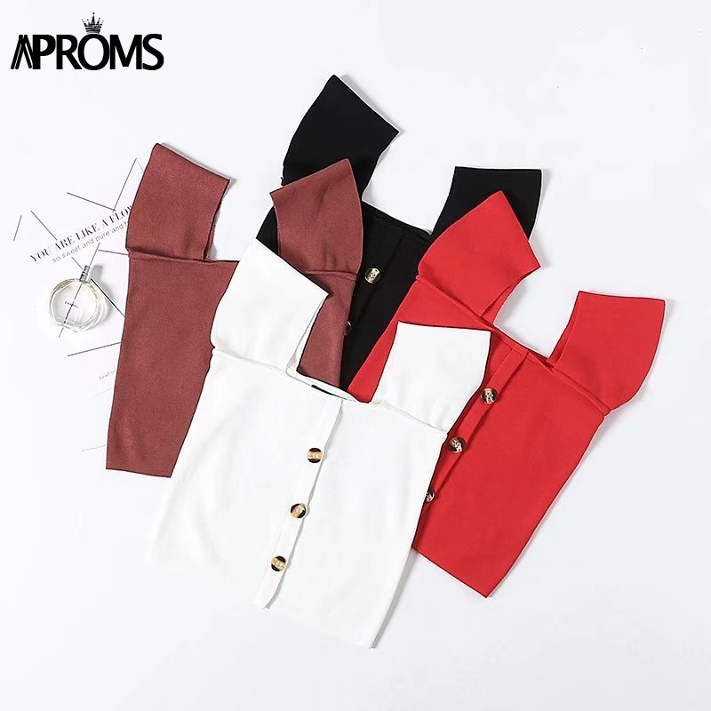 Aproms Red Off Shoulder Knitted   Tank     Top   Women Button Down Slim Fit Crop   Top   White Basic Camis 2019 Streetwear Cropped   Top   Tees