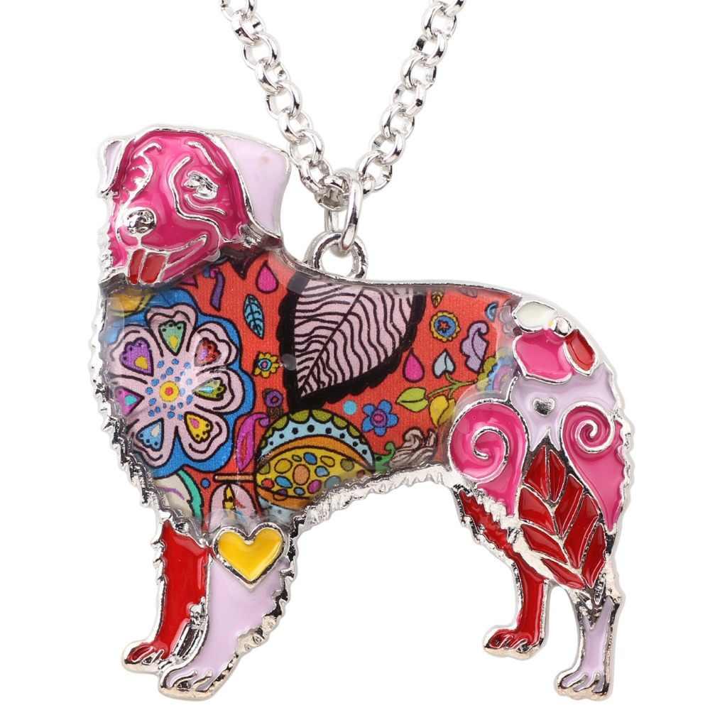 WEVENI Statement เคลือบ Australian Shepherd Dog สร้อยคอสร้อยคอสร้อยคอสร้อยคอสร้อยคอแฟชั่นเครื่องประดับสำหรับผู้หญิง Bijoux ของขวัญ