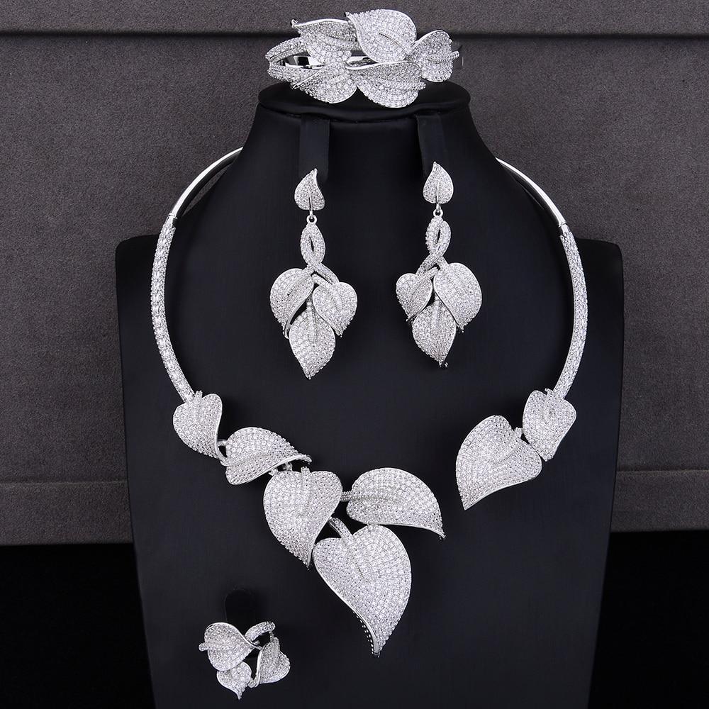 Модные Индийские комплекты ювелирных изделий в форме листьев для женщин, ожерелье с фианитом, серьги, браслет, кольцо, комплекты ювелирных и