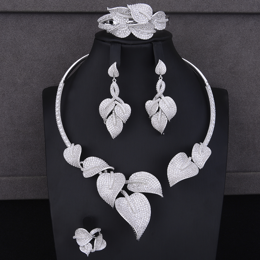 Fashion Plant Leaf Shape Indian jewellery sets for women CZ Collar Necklace Earrings Bracelet Ring Jewelry Sets Wedding Wear stylish silver plated cut out rhinestone heart earrings for women