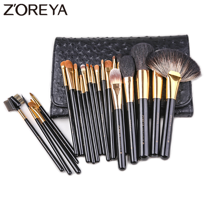 все цены на ZOREYA Brand 24pcs Professional Makeup Brushes High Quality Synthetic Hair Make Up Brush Set Powder Concealer Cosmetic Tools