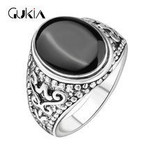 Hot Sale The Black Friday jewelry Sold On The Cheap Plating Silver Ring Vintage Look Enamel Punk Rock Rings For Men(China)