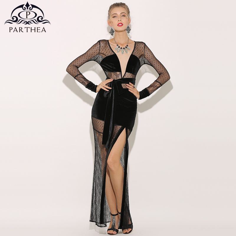 Parthea Sheer Mesh Maxi Dress Long Sleeve Women Velvet Sexy Dress High Split Black Lace Party Dress Floral Dresses Vestidos 2018