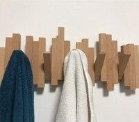 Natürliche birke holz haken wand kleiderbügel mantel rack kleiderbügel Amerikanischen familie wand typ klaviere reihe haken Lagerung Hanger-in Haken & Leisten aus Heim und Garten bei