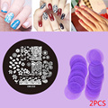New arrivel 2pcs Purple Nail Art Stamping Plates Polish Design Print DIY Nail Template Popular