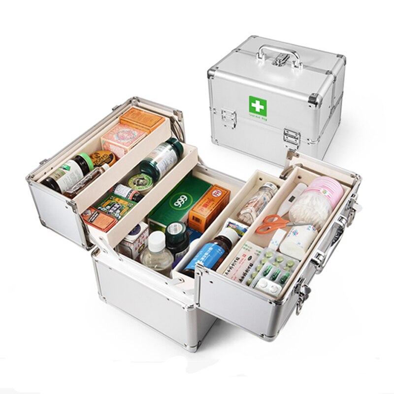 Armoire de premiers secours verrouillable à 3 couches, boîte de rangement pour médicaments, Kits de survie d'urgence, fournitures d'urgence, Double serrure