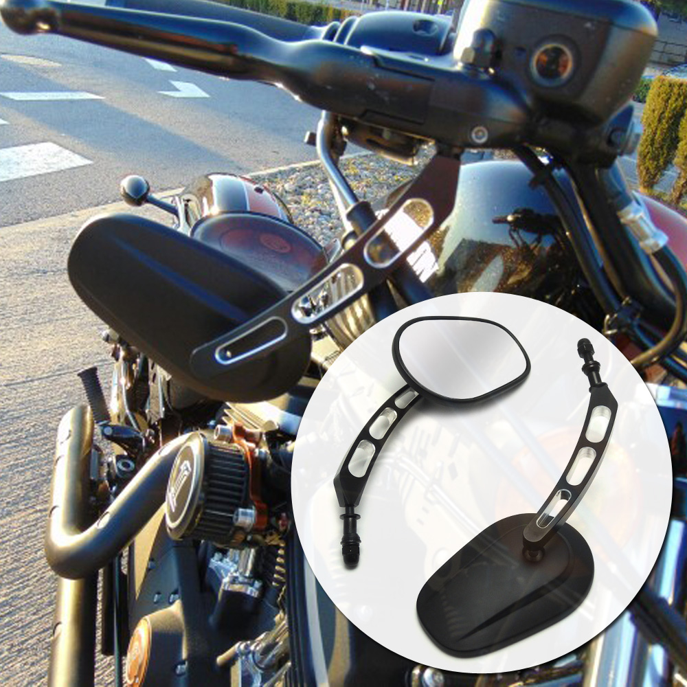 For Harley Road King Touring XL883 Sportster 1200 Street Bob Custom XL1200C Dyna Softail Motorcycle RearView Side Mirrors chrome custom motorcycle skeleton mirrors for harley davidson road king classic custom