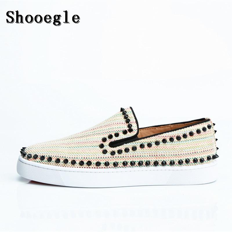 SHOOEGLE Men Rivet Flat Canvas Slip-on Sneakers Spike Shoes Low Top Printing Men Runway Chaussures Hommes Big Size EU38-EU47