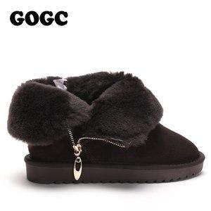 Image 3 - Gogc 100% Wol Echt Leer Winter Laarzen Vrouwen Warme Winter Laarzen Met Bont Voor Dames Ontwerp Enkellaars Voor Vrouwen g9838