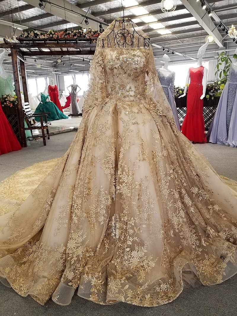 SSYFashion New High-end Gold Wedding Dress Luxury Dubai Vintage Lace Embroidery Beading Court Train Bride Wedding Gown Custom