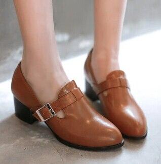 Plus Size 34-43 Fashion Vintage Women Slip On Buckle Strap Punk Cuban Low  Heel Brogue Oxfords Work Shoes Female Ankle Boot a1583d89dd