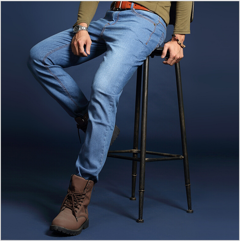 Brand Mens Jeans Straight Ripped Jeans For Men 2016 Denim Jeans Men Fashion Designer Pants Blue Jeans Homme famous brand mens jeans straight ripped biker jeans for men zipper denim overalls men fashion designer pants blue jeans homme