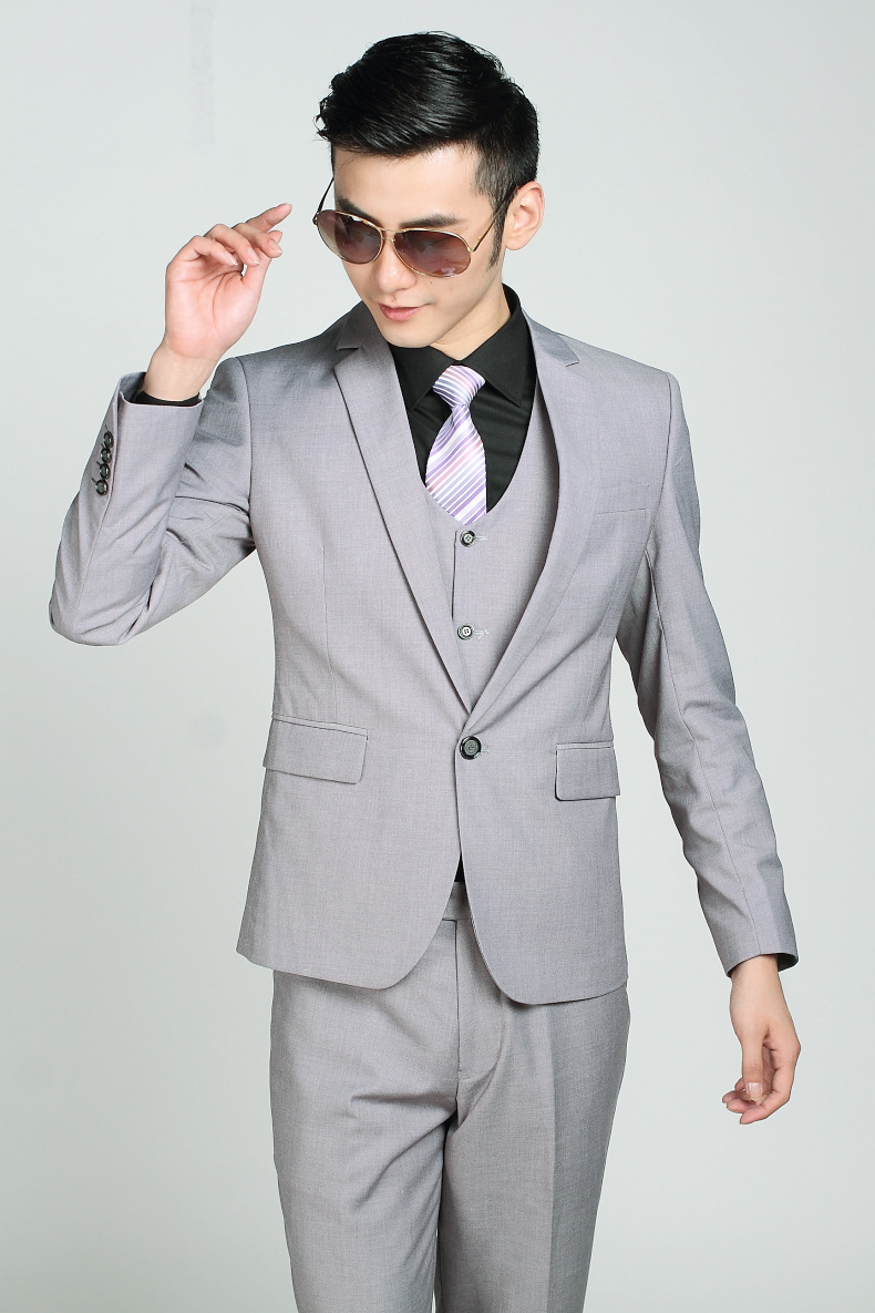 italian Wedding Suits Men Light Gray Single Button Brand ...