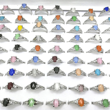 10pcs Wholesale Lots Bulk Fashion Mixed Colorful Cat Eye Opal Stone Rings Jewelry Women Girl