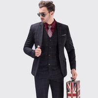האחרון משובץ חליפת טוקסידו גברים באיכות גבוהה גברים עיצוב 3 Piece פורמליות תלבש חליפות חתונת זכר חליפות עסקים (מעיל אפוד + + מכנסיים)